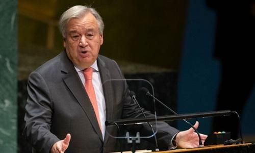 Tổng thư ký Liên Hợp Quốc Antonio Guterres phát biểu trong phiên họp thứ 74 Đại Hội đồng Liên Hợp Quốc tại trụ sở ở New York ngày 24/9. Ảnh: AFP.
