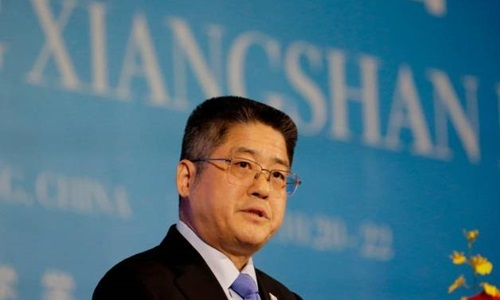 Thứ trưởng Ngoại giao Trung Quốc Lạc Ngọc Thànhphát biểu tại diễn đàn Hương Sơn,Bắc Kinh hôm nay. Ảnh: Reuters.
