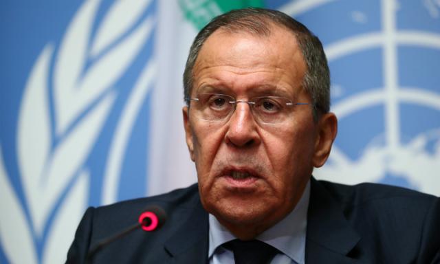 Ngoại trưởng Nga Sergei Lavrov phát biểu tại cuộc họp báo ở trụ sở Liên Hợp Quốc, Geneva, Thụy Sĩ hôm qua. Ảnh: Reuters.
