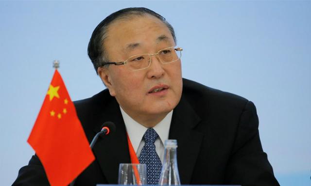 Đại sứ Trung Quốc tại Liên Hợp Quốc Trương Quân tại Bắc Kinh ngày 30/1. Ảnh: Reuters.