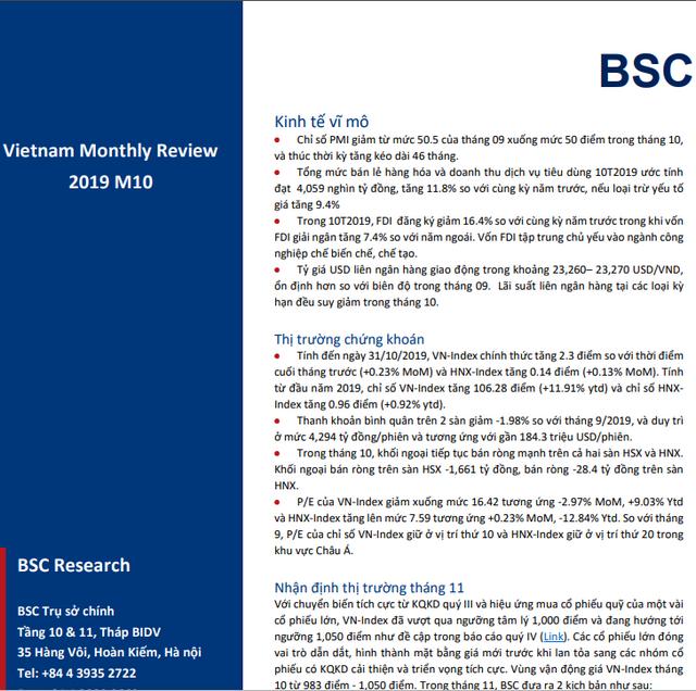 BSC: Vĩ mô và thị trường tháng 10/2019 - 'Bay cao cùng với cổ phiếu lớn'