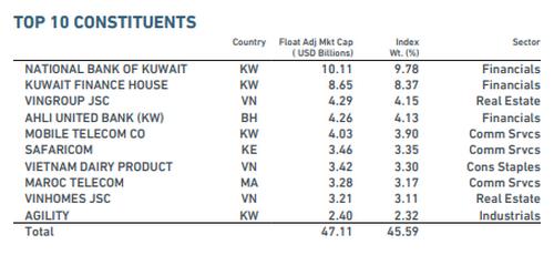 10 cổ phiếu có tỷ trọng lớn nhất trong danh mục MSCI Frontier Markets Index. Nguồn: MSCI