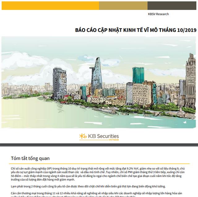 KBSV: Báo cáo cập nhật kinh tế vĩ mô tháng 10/2019