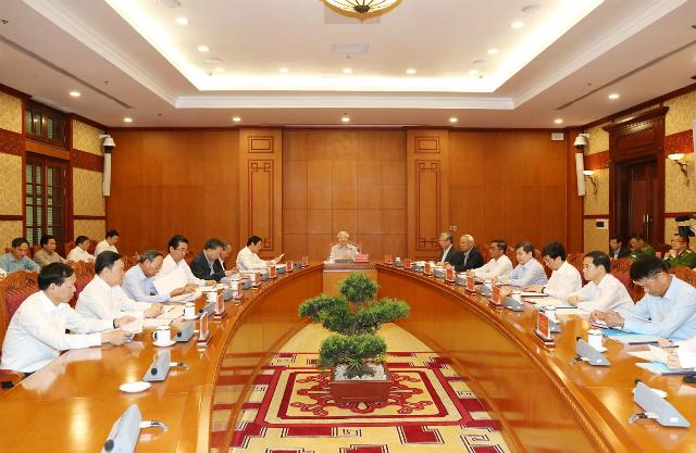 Thường trực Ban Chỉ đạo Trung ương về phòng, chống tham nhũng đã tổ chức cuộc họp dưới sự chủ trì của Tổng Bí thư, Chủ tịch nước Nguyễn Phú Trọng. Ảnh: Lê Sơn.