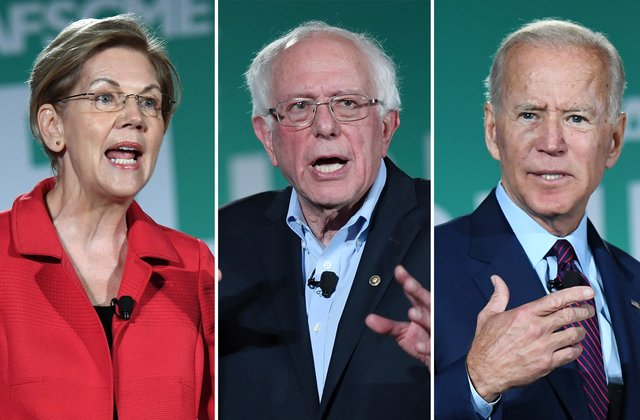 Ba ứng viên tổng thống đảng Dân chủ gồm Elizabeth Warren (trái), Bernie Sanders (giữa) và Joe Biden. Ảnh: US News.