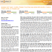 VNDirect: Ngành dệt may - Chiến tranh thương mại đem đến nhiều thách thức hơn thuận lợi