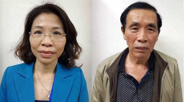Bị can Phạm Thị Kim Tuyến và Nguyễn Tiến Học.
