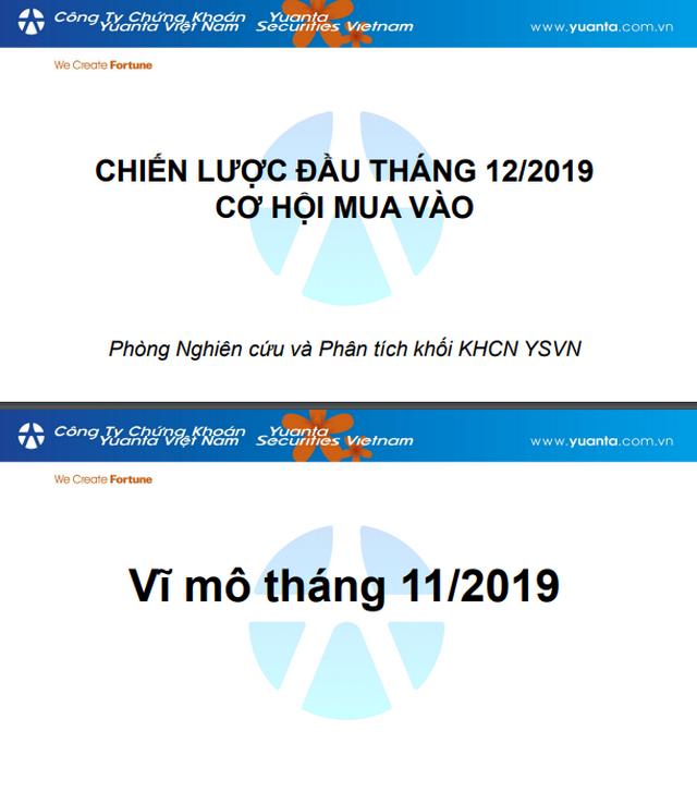 YSVN: Chiến lược đầu tư tháng 12/2019 - Cơ hội mua vào