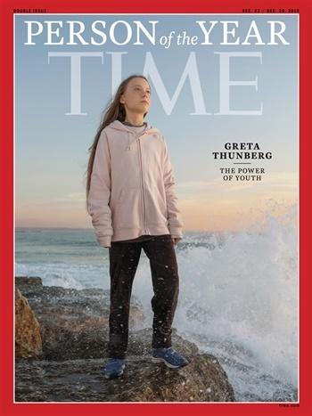Hình ảnh Greta Thunberg trên bìa tạp chí Time. Ảnh: Time.