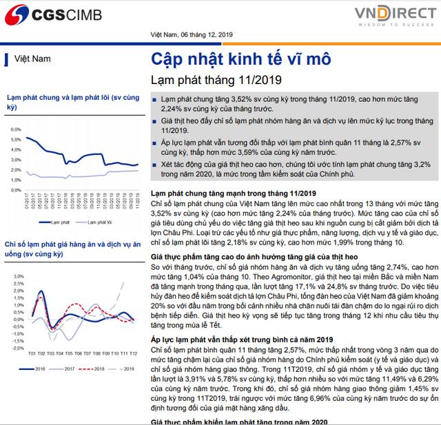 VNDirect: Báo cáo cập nhật kinh tế vĩ mô - lạm phát tháng 11/2019