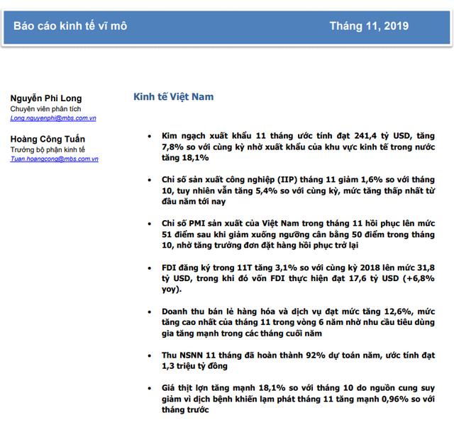 MBS: Triển vọng Việt Nam số cuối tháng 11/2019