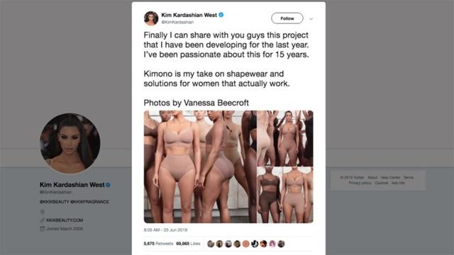 """Trên phương tiện truyền thông xã hội, cô đã gọi bộ Kimono là """"giải pháp định hình cơ thể thực sự hiệu quả cho phụ nữ""""."""