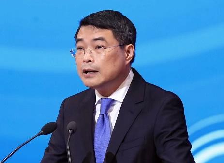 Thống đốc Lê Minh Hưng tại hội nghị. Theo SBV.
