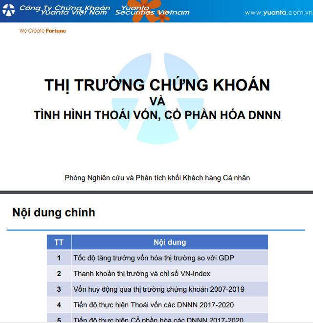 YSVN: Thị trường chứng khoán và tình hình thoái vốn, cổ phần hóa DNNN