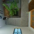 <p> Ngoài việc sử dụng vật liệu thô, màu trung tính, ngôi nhà được bố trí với các ô cửa nhỏ cùng cây xanh.</p>