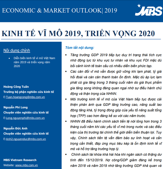 MBS: Kinh tế vĩ mô 2019 và triển vọng 2020