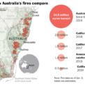 <p> Tính đến ngày 3/1, hơn 60.000 km2 rừng tại Australia bị thiêu rụi, cao hơn nhiều con số ghi nhận được từ đợt cháy rừng Amazon (hơn 5.600 km2) và tại bang California, Mỹ (khoảng 1.200 km2) xảy ra trong cùng năm 2019. Ảnh: <em>Washington Post.</em></p>
