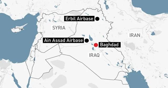 Vị trí hai căn cứ không quân Iraq bị Iran nhắm đến. Ảnh: CBC.