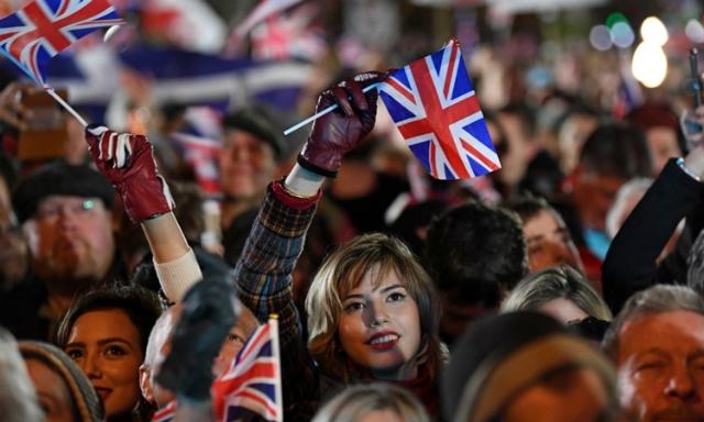 Người ủng hộ Brexit tập trung ở Quảng trường Quốc hội ở London ngày 31/1. Ảnh: AFP.