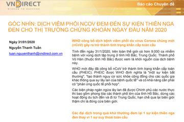 VNDirect: Dịch viêm phổi nCoV đem đến sự kiện thiên nga đen cho TTCK ngay đầu năm 2020