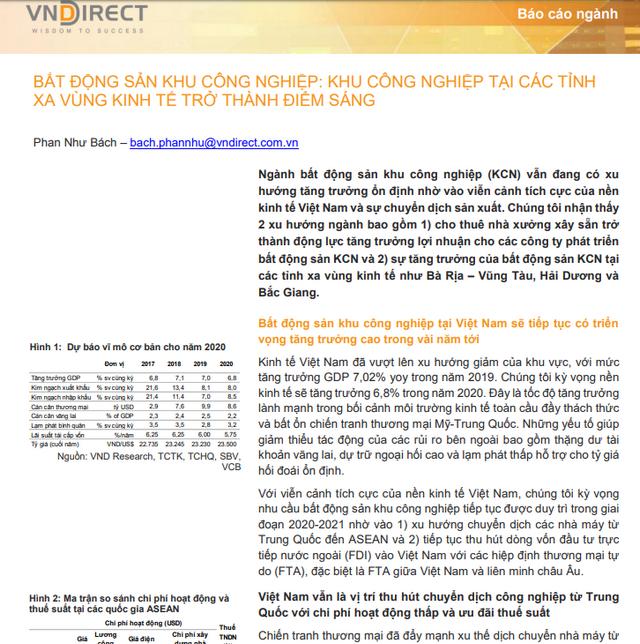 VNDirect: Bất động sản khu công nghiệp - KCN tại các tỉnh xa vùng kinh tế trở thành điểm sáng