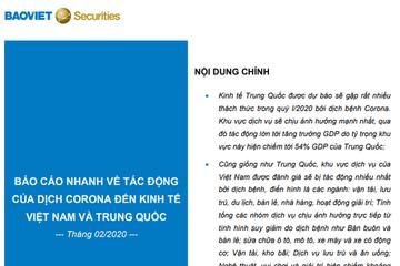 BVSC: Báo cáo đánh giá tác động của dịch corona đến kinh tế Trung Quốc và Việt Nam
