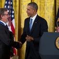<p> Steven Spielberg đến nay đã nhận được hơn 190 giải thưởng điện ảnh và hơn 200 lần được đề cử. Năm 2015, ông được cựu Tổng thống Mỹ Barack Obama trao tặng Huân chương Tự do. Ảnh: <em>AP.</em></p>