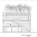 <p> Mặt cắt dọc của ngôi nhà với kết cấu 2 tầng rõ rệt.</p>