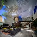 <p> Trong phòng khách, một vòng dạng tổ chim treo trên trần nhà tương thích với gỗ bọc quanh thang máy, liên tưởng tới hình ảnh tổ chim và cây. Các tấm lan can được khắc với những mẫu hoa phức tạp.</p>