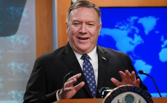 Ngoại trưởng Mỹ Mike Pompeo phát biểu trong cuộc họp ở Bộ Ngoại giao, Washington, hôm 25/2. Ảnh: Reuters.