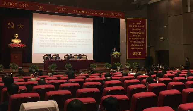 Phiên họp ĐHCĐ thường niên 2020 của BIDV. Ảnh: Lê Hải