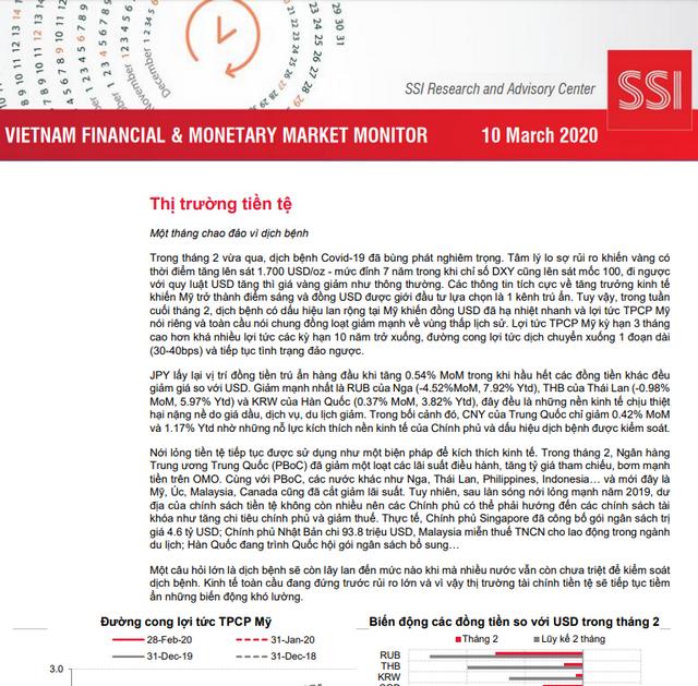 SSI Research: Báo cáo thị trường tài chính tiền tệ Việt Nam tháng 2/2020