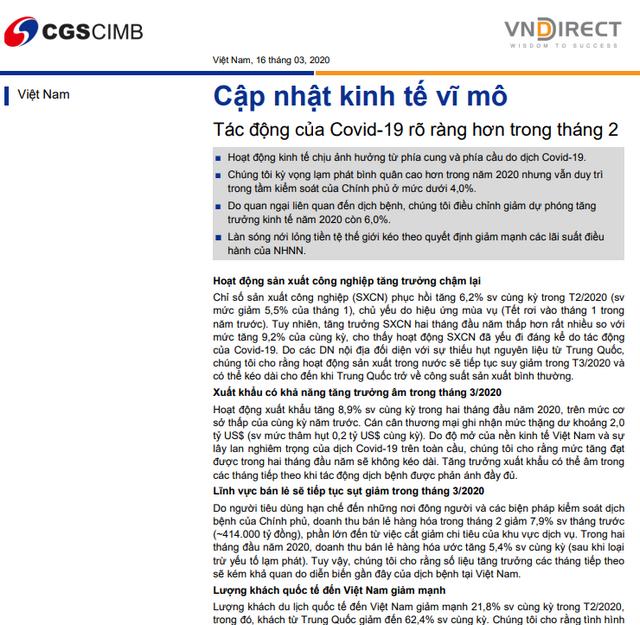 VNDirect: Cập nhật kinh tế vĩ mô - Tác động của Covid-19 rõ ràng hơn trong tháng 2