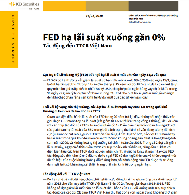 KBSV: Tác động của Fed hạ lãi suất tới TTCK Việt Nam