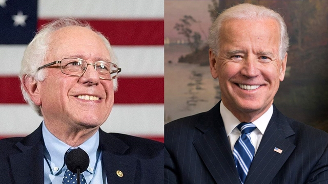 Hai ứng viên tổng thống đảng Dân chủ Bernie Sander (trái) và Joe Biden. Ảnh: Sky News.
