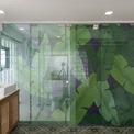 """<p> Lớp kính ngăn cách phòng ngủ và nhà tắm được trang trí thêm hoạ tiết sống động.<span style=""""color:rgb(0,0,0);"""">Phần lớn không gian ở tầng này chỉ có 2 màu: màu xanh lá cây của sàn nhà truyền thống và màng hoa văn hình lá chuối trên cửa kính; tông màu ấm trung tính của đồ nội thất bằng gỗ và trang trí nội thất mềm mại.</span></p>"""