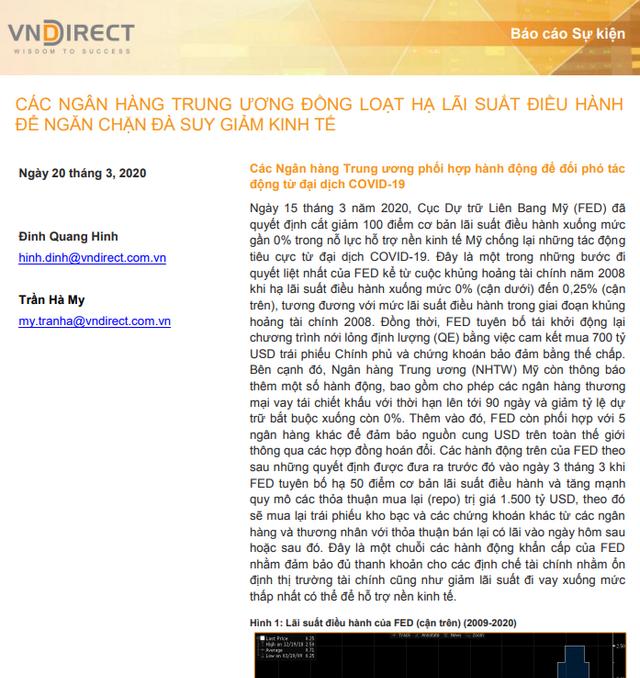 VNDirect: Các Ngân hàng Trung ương đồng loạt hạ lãi suất điều hành để ngăn chặn đà suy giảm kinh tế