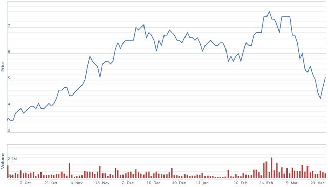 Diễn biến giá cổ phiếu TIG trong vòng 6 tháng qua. Nguồn: VNDS.