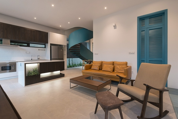 Biệt thự song lập ở Hà Nội hiện đại với 'bức màn cây xanh'