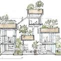 <p> Bản vẽ tổng thể ngôi nhà ở mặt cắt thẳng đứng.</p>