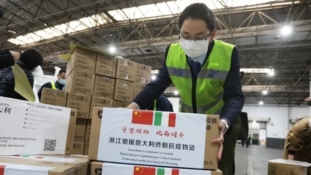 Medical supplies bound for Italy are sorted in a logistics center at the international airport in Hangzhou, China.   © Reuters