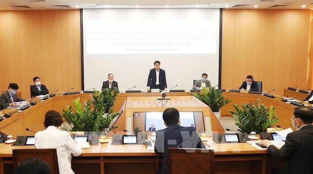 Chủ tịch UBND Thành phố Hà Nội Nguyễn Đức Chung chủ trì cuộc họp.