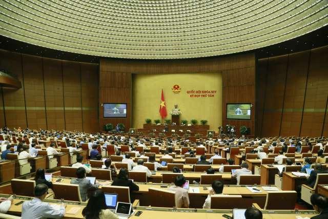 Một phiên họp của Quốc hội khoá 14, Quốc hội khoá này không bầu đủ 500 đại biểu, một số vị bị miễn nhiệm nên hiện tại chỉ còn hơn 480 đại biểu..