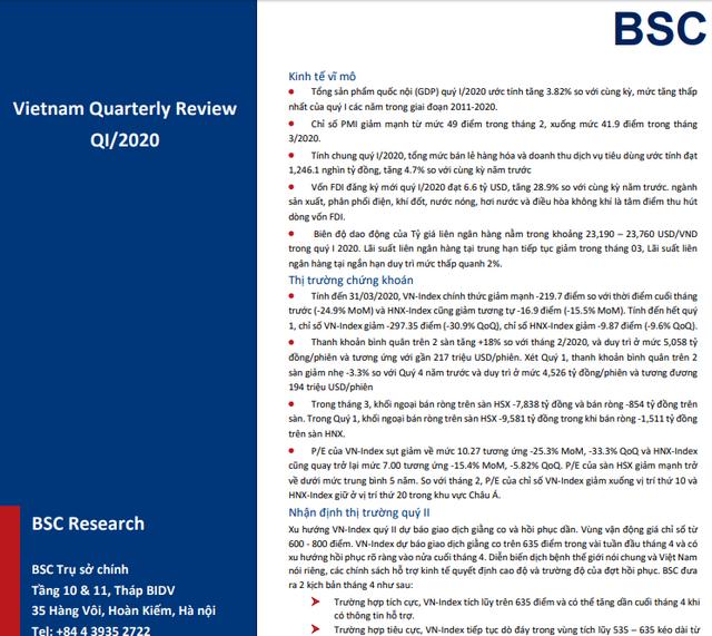 BSC: Báo cáo vĩ mô và thị trường quý I - Vận động trong vùng 600-800