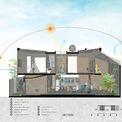 <p> Mặt cắt của ngôi nhà, mô tả quá trình thông gió cũng như hướng nắng.</p>