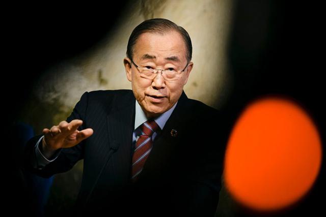 Tại Liên Hợp Quốc, ông Ban Ki Moon nhấn mạnh đến biến đổi khí hậu, phát triển bền vững và bình đẳng giới. Credit: Getty Images