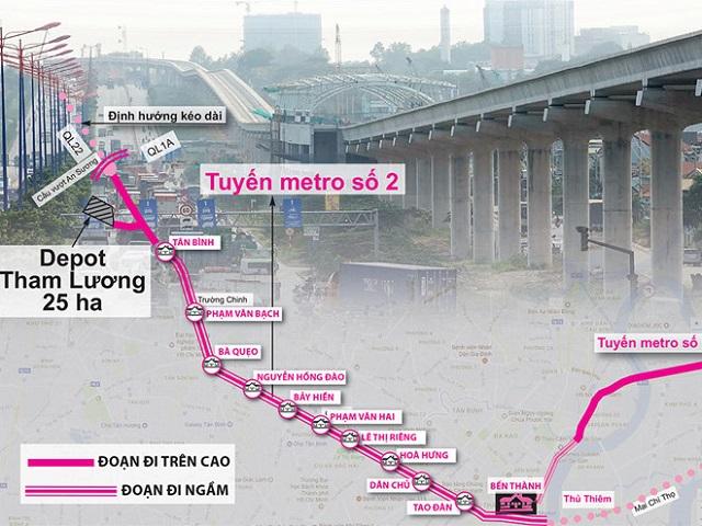 Sơ đồ tuyến metro số 2 Ảnh: Độc Lập - Đồ họa: Đông Xuân