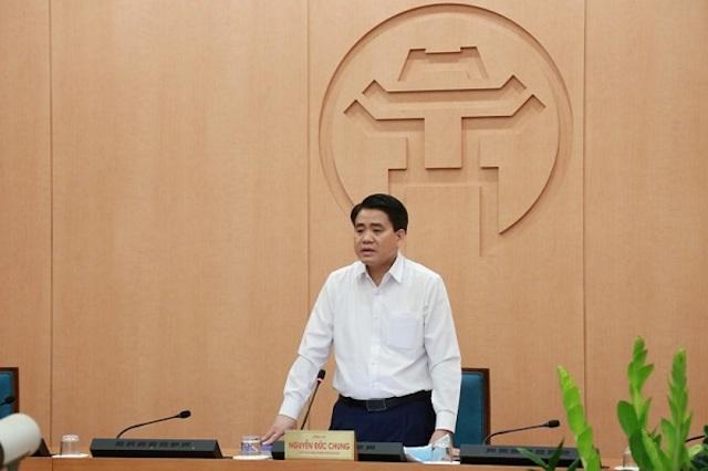 Chủ tịch TP. Hà Nội Nguyễn Đức Chung phát biểu tại cuộc họp. Ảnh: Thùy Linh.