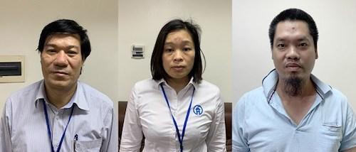 Ông Nguyễn Nhật Cảm (bên trái)-Giám đốc CDC Hà Nội; Nguyễn Vũ Hà Thanh (giữa)-Trưởng Phòng Tài chính kế toán CDC và Nguyễn Trần Duy-Tổng Giám đốc Công ty cổ phần định giá và bán đấu giá tài sản Nhân Thành đã bị khởi tố và bắt tạm giam.