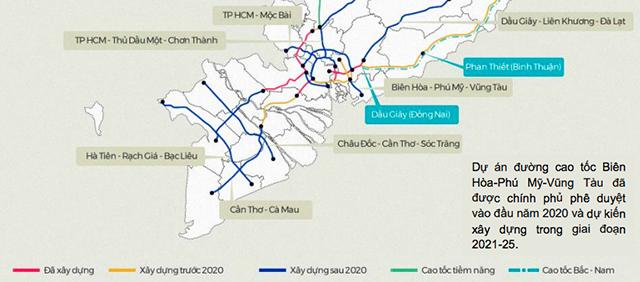 Ở miền Nam, Bà Rịa – Vũng Tàu đang trở thành điểm nóng công nghiệp kể từ khi hệ thống đường cao tốc mới được đẩy mạnh phát triển, kết nối cảng nước sâu Cái Mép – Thị Vải với TP.HCM, Đồng Nai và Bình Dương (Nguồn: VND Research, VNExpress)